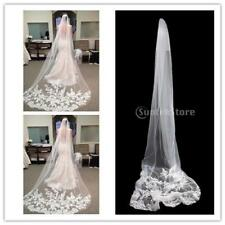 Beautiful Bride Cathedral 1 Layer Lace Edge Long Wedding Bridal Veils with Comb