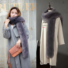 Ladies Soft Long Faux Fur Scarf Elegant Collar Winter Warm Neck Wrap Stole Shawl