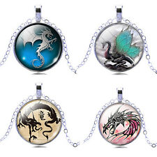 2017 Glass Dragon Art Picture Women's Cabochon Pendant New Necklace Jewelry