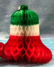 12INCH DIAMETER HONEYCOMB CHRISTMAS BELLS RED WHITE GREEN-PACKS OF 3 AND 12