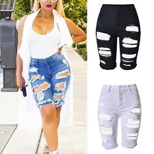 Sexy Women Girl Hole Leggings Short Pants Elastic Denim Shorts Ripped Jeans