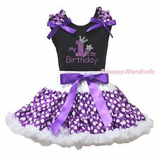 Black Cotton Top My 1ST Birthday Purple White Polka Dot Girls Skirt Outfit 1-8Y