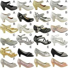 Girls Childrens Kids Party Gem Mary Jane Style Strap Sandals Shoes Pumps Size UK