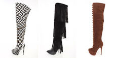Lot STITCHED CHAIN STRAPPY Faux Leather Suede Quilted Thigh High Heels Boots