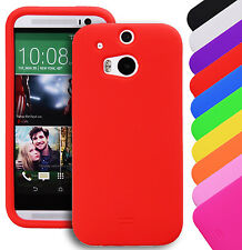 Silicone Gel Soft Plain Rubber Fitted Skin Case Back Cover For HTC One M7 M8