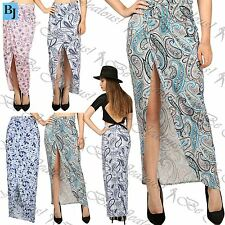 Womens Ladies Print Wrap Cross Side Split Asymmetric Cut Out Ruched Maxi Skirt