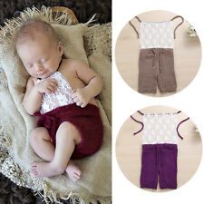 Newborn Baby Girls Boy Crochet Knit Romper Costume Photo Photography Prop Outfit