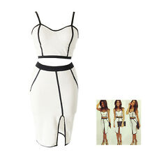 Womens Bodycon Bandage Two Piece Crop Top and Skirt Dress Set-S F6