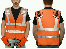 HIGH VISIBILITY REFLECTIVE SAFETY VEST with Removable LED Lights ORANGE