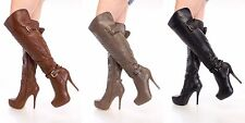 Lot Sexy Animal Print Spiked Knee High Boots Faux Leather Suede Stilletos Shoes