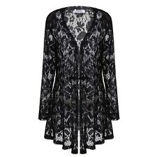 Women Casual Lace Crochet Long Sleeves Open Front Long Cardigan Tops VGY