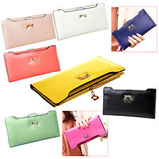 Soft Leather women wallets Bowknot Clutch bag Long PU Card Purse wallet F6