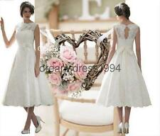 SONJA Ivory Lace Vintage 50's Inspired Tea Length Wedding Dress