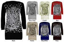 Women Ladies Long Sleeve Knitted Tiger Face Studded Jumper Dress Long Top