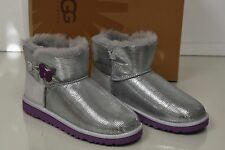 New UGG Uggs Kids Toddler Classic Baley Silver Lizard Purple Button  Boots 6 9