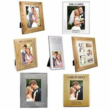 Personalised Mr & Mrs Photo Frames, Wooden, Glass, Newlyweds, Wedding Gifts