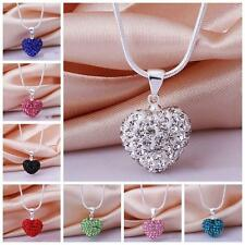 Jewelry Crystal Rhinestone Necklace Silver Plated Pendant Heart