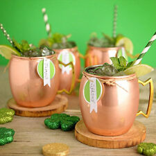 New 4 XPure Handmade Moscow Mule Hammered Copper Mug Glass Cup Brass Handle 16OZ