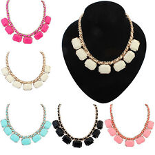 Women Fashion Geometry Pendant Chain Statement Bib Necklace Charm Jewelry Gift