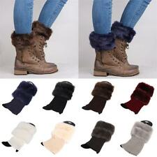Cover Fashion Fur  Crochet Knit Boot Socks Cuffs Toppers Trim Leg Warmer
