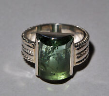 Green Tourmaline 11.58ct Cabochon Handcrafted Sterling Silver Ring
