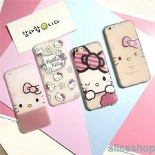 For iPhone 7 7 Plus 6S Cute Transclucent Hello Kitty Flower Soft TPU Case Cover