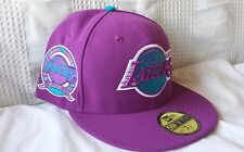 LA LAKERS New Era 59FIFTY mens fitted hat (sizes: 7 1/8, 7 3/4) RARE PURPLE CAP!