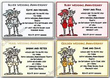 Personalised Silver / Pearl / Ruby / Golden Wedding Anniversary Invitations x10