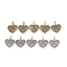 50 Pcs Tibetan Silver Bronze Filigree Heart Charms Pendants DIY Jewelry Making