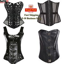 Bustier Corset Top Burlesque Basque Steampunk Boned Body Shaper Black Cincher UK