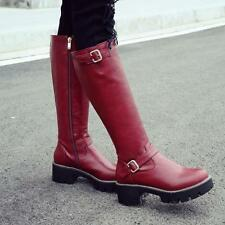 Womens winter shoes PU leather side zippers buckle chunky heels knee high boots