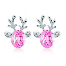 Attractive Shiny Rhinestone Crystal Cute Deer Earrings Ear Stud Popular Gift