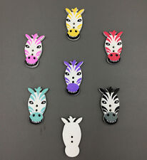 FREE multicolor wooden sewing horse head Sewing Buttons Scrapbooking 2 Holes