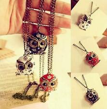 1Pcs Retro Charms Rhinestone Necklace Pop Owl Long Chain Crystal Pendant Sweater