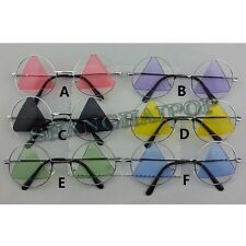 Triangle Color Lens Round Frame Sunglasses Shades Party Fancy Dress Cosplay Men