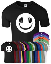 Smiley Headphone Mens T-Shirt Music Dj Funny Slogan Top Tee Short Sleeve T Shirt