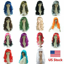 Women Ladies Fashion Cosplay Party Long Curly Hair Heat Resistant Full Wavy Wigs