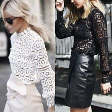 Retro Hollow Sexy Ladies Casual Long Sleeve Shirt Lace Loose Tops Blouse T-Shirt