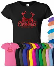 Merry Christmas And Happy New Year Womens T Shirt Xmas Novelty Gift Tee T-Shirt