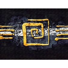 Brands Canvas Picture No. 219 Panorama Abstract Ornament Yellow Black Buckcherry