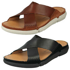 MENS CLARKS LEATHER OPEN TOE SLIP ON SUMMER SANDALS BEACH SHOES TRISAND CROSS