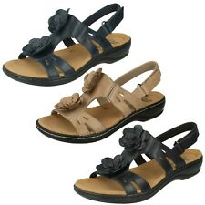LADIES CLARKS RIPTAPE OPEN TOE BEACH SHOES LEATHER SUMMER SANDALS LEISA CLAYTIN