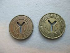 2 TOKENS LARGE SIZE NYC New York City Subway Tokens,  TWO coin lot 1970-1980
