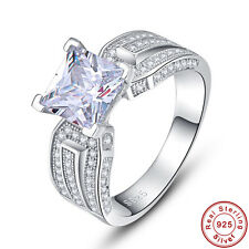 Free Box Princess Cut AAA White Topaz 100% 925 Sterling Silver Ring Size 6 7 8 9