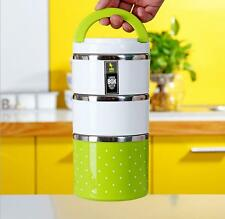 Cute Stainless Steel Lunch Box Insulation Bento Food Container,three layer