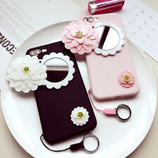 Silicone Soft Gel Mirror Flower Bling Back Phone Case Cover Fits iPhone &Samsung