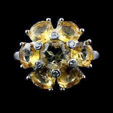 GORGEOUS! NATURAL TOP RICH YELLOW CITRINE GEM & W-CZ STERLING 925 SILVER RING 10