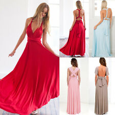 Womens Bridemaid Gown Multi Way Wrap Evening Party Cocktail Prom Long Maxi Dress