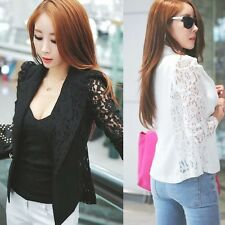 Chic Lace Long Sleeve Lapel One Button Womens Lady Suit Blazer Outwear Tops New