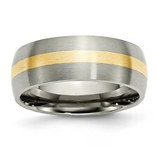 Titanium 14k Gold Inlay 8mm Brushed Band Ring - Ring Size: 6 to 13